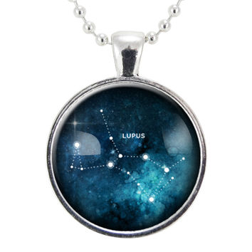 Lupus Wolf Star Constellations Necklace, Science Jewelry, Homemade Astrology Pendant Necklace