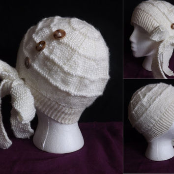 Hand-knit Cloche Hat with Side Tied Bow
