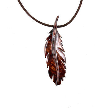Mens Feather Necklace, Wood Feather Necklace, Mens Necklace, Feather Pendant, Wooden Feather Pendant, Native American Inspired Mens Jewelry