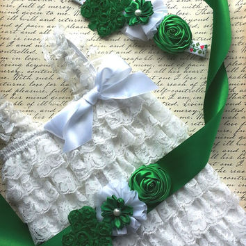 Baby Lace Romper Set, White Romper, St. Patrick's Romper Outfit ,Petti Lace Romper Set,Photo Prop, Smash Cake Outfit, First Birthday Outfit