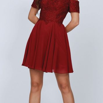 Burgundy Homecoming Short Dress with Cold-Shoulder