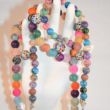 Queen of Mardi Gras Necklace. Rhinestone. Necklace. Jasper. Crackle. Semiprecious Stones. Beads. Multi Colored. Double Strand