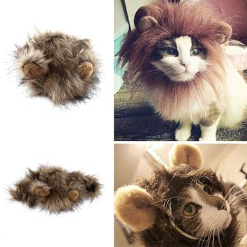 2017 Funny Cute Pet cat Costume Cosplay Lion Mane Wig Cap Hat for Cat Halloween Xmas Clothes Fancy Dress with Ears Autumn Winter