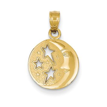 14k Yellow Gold 13mm Moon and Stars Pendant