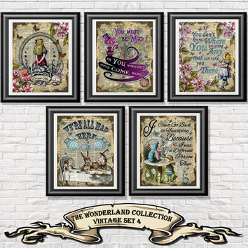 Alice in Wonderland poster prints, 5 vintage Alice art printed onto old dictionary book pages. Mixed media set 4 wall decor Illustration