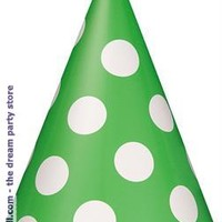 Lime Green with White Polka Dots Cone Hats - Lime - One size