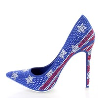 American Flag Rhinestone Studded Single Sole Pump Heels Faux Suede