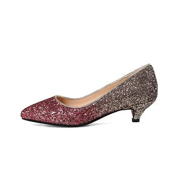 Pointed Toe Wedding Shoes Sequins and Shallow-mouthed Women Pumps Stiletto Middle Heels