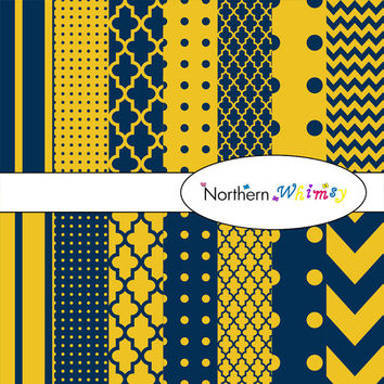 Digital Scrapbooking Paper Pack – Navy Blue and Gold Yellow paper in stripes, chevron, polka dot, and quatrefoil – instant download – CU OK