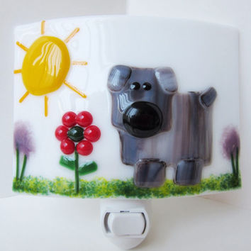 Night light nursery, dog lover fused glass nightlight, kids night light, pets lover decor, childs room lighting, plug in night light