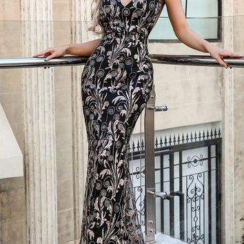 Stand Alone Black Gold Glitter Leaf Pattern Sleeveless Spaghetti Strap V Neck Backless Mermaid Fit and Flare Maxi Dress