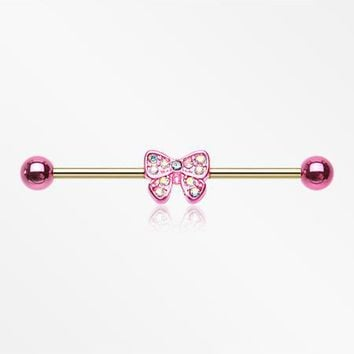 Golden Dainty Pink Bow-Tie Sparkle Industrial Barbell