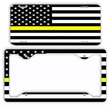 Thin Yellow Line Police Dispatchers License Plate Frame Car Tag