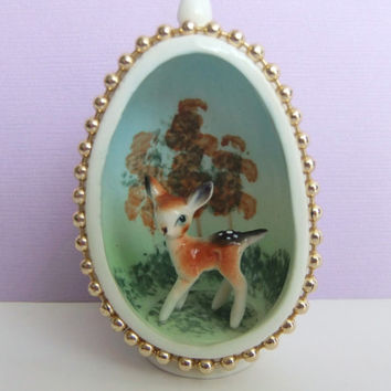Egg Ornament with Miniature Deer Figurine, Fawn Diorama Miniature Scene, Vintage Bambi, Japan Vintage Deer
