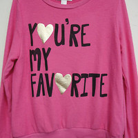 Forever 21 Women's hacci long sleeve  printed crew neck top Sz M / foil h.pink
