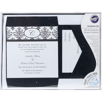 NEW! Invitation Kit Makes 25-Black & White Scroll Monogram