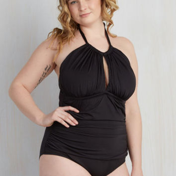 Pinup Working Tidal One-Piece Swimsuit in Black - 1X-3X
