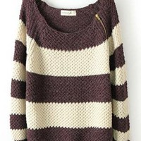 Coffee Stripe Zipper Loose Long Sleeve Sweater