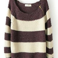 Coffee Striped Zipper Loose Long Sleeve Sweaters