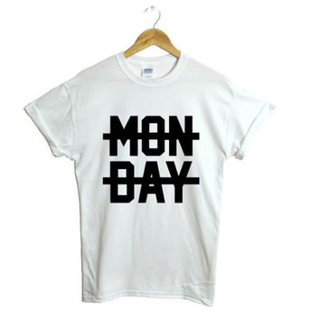 Monday Cross out black grey humour tshirt