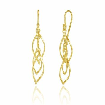 Lightweight Triple Spiral Dangle Drop Earrings in Gold Plated Sterling Silver
