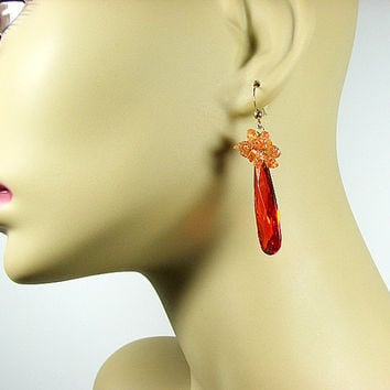 Orange sapphire earring Tangerine crystal dangle earring Drop earring  Wire wrapped gemstone beaded jewelry