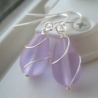 Purple Glass Earrings - Sea Glass Jewelry - Wire Wrapped Earrings -  Purple Sea Glass - Glass Jewelry - Purple Earrings