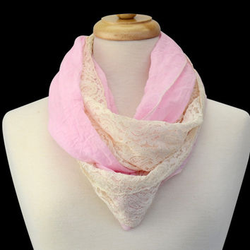 Scarf - Infinity Lace Trim Bubble Gum