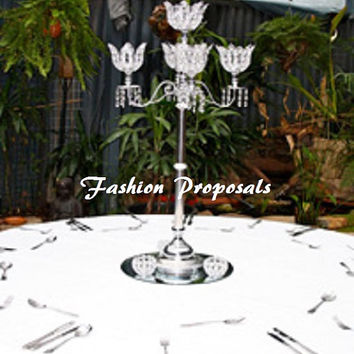 "10 Wedding Crystal acrylic globe magnolia candelabra 5 arms with dripping prism set of 10 35"" in tall. Candelabra wedding centerpiece."