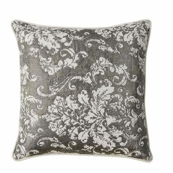 Contemporary Style Set of 2 Throw Pillows With Floral and Foliage Designs, Silver By Casagear Home