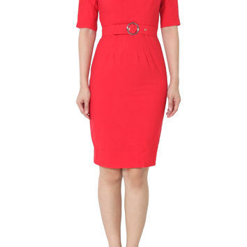 ROSIE Belted Shift Pencil Red Dress