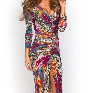 Rosalina Purple Animal Print Knee Length V Neck Long Sleeve Party Dress