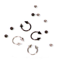 "16 Gauge Silver Black 3/8"" Steel Circular Barbell 4 Pack"