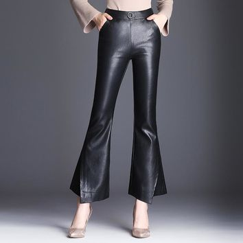 Elegant PU Leather Flared Pants Trousers Women Plus Size M-4XL OL Bell Bottom Fashion Woman Stitching Elastic High Waist Pants