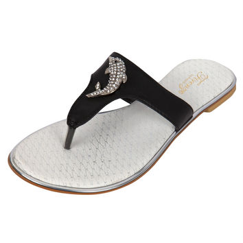 Jeweled Dolphin Black Womens Sandals