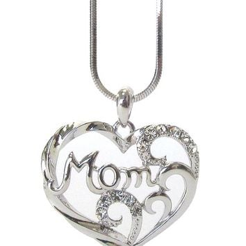 Silver Mothers Day Crystal Mom Heart Pendant Necklace