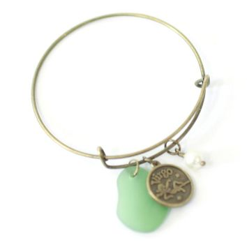 Antique Brass Virgo Bracelet - Green Sea Glass, Swarovski Pearl and Antique Bronze - Simple Zodiac Fashion Accessory - One Size Fits All - Zodiacharm - Clay Space