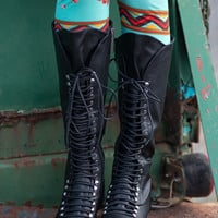 Down In Georgia Lace Up Boots-Black