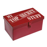 Red Top Secret Metal Keepsake Box | DotComGiftShop