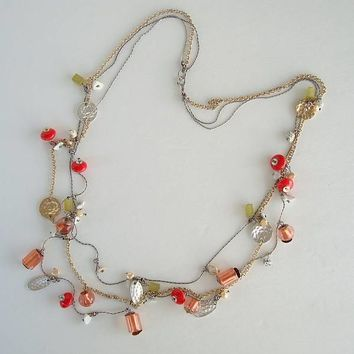 3-Strand Necklace Hammered Disks Red Pink Green Glass Beads