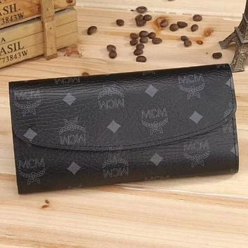MCM Women Fashion Leather Buckle Wallet Purse