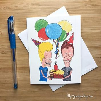 Beavis and Butthead MTV Animated Sitcom Happy Birthday Card FREE SHIPPING