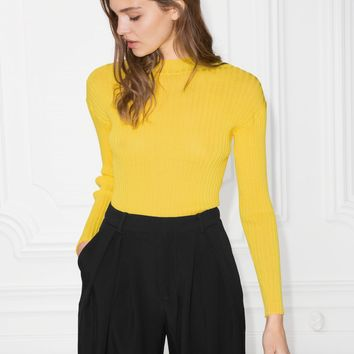 & Other Stories | Fitted Mock Neck Top | Yellow