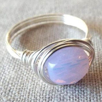 Wire Wrap Ring Light Purple Ring Purple Glass Ring Gift for Best Friend Simple Ring Cute Ring Czech Bead Ring Purple Opal Ring Lilac Ring