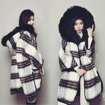 Black White Plaid Hooded Coat Female Wool Blends Winter Coats Women Cloak Sleeve Cape Cardigan Casual Clothes