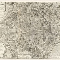 Vintage Map - Paris, France 1705