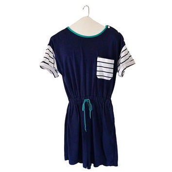 One Piece Romper Blue Romper 90s Romper Shorts Blue Jumper Summer Romper One Piece Jumper Play Suit Short Sleeve Romper Women Romper Ladies
