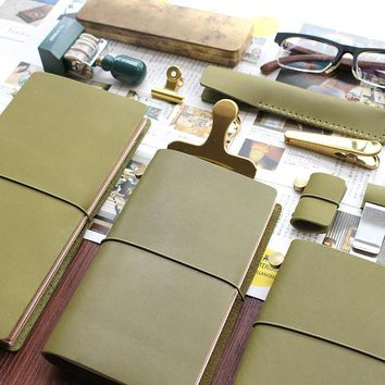 Fromthenon Travelers Notebook Olive Olive Green Leather Planner 2017 Cowhide Note For Midori Diary Travelers Personal Journal