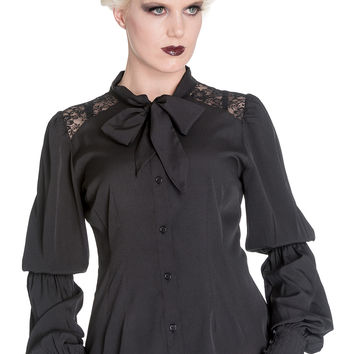 Gothic Victorian Romance Black Chiffon Bishop Long Sleeve Blouse - Plus Size
