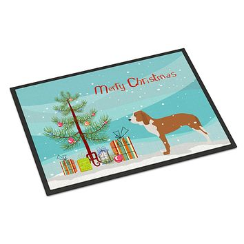 Spanish Hound Merry Christmas Tree Indoor or Outdoor Mat 24x36 BB2909JMAT